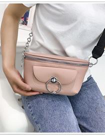 Fashion Pink Chain Metal Circle Shoulder Bag