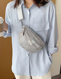 Fashion Silver Crossbody Chest Bag With Chain And Diamond Laser Shoulder
