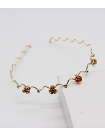 Fashion Golden Rose Butterfly Rose Flower Double Layer Alloy Hollow Headband
