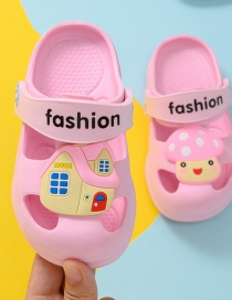 Fashion Pink Mushroom House Non-slip Childrens Hole Sandals And Slippers