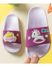 Fashion Purple Asymmetric Childrens Sandals And Slippers