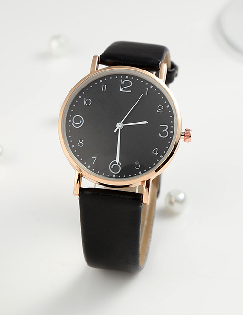 Fashion Black-faced Steel Band Three Eyes Six Hands Quartz Watch