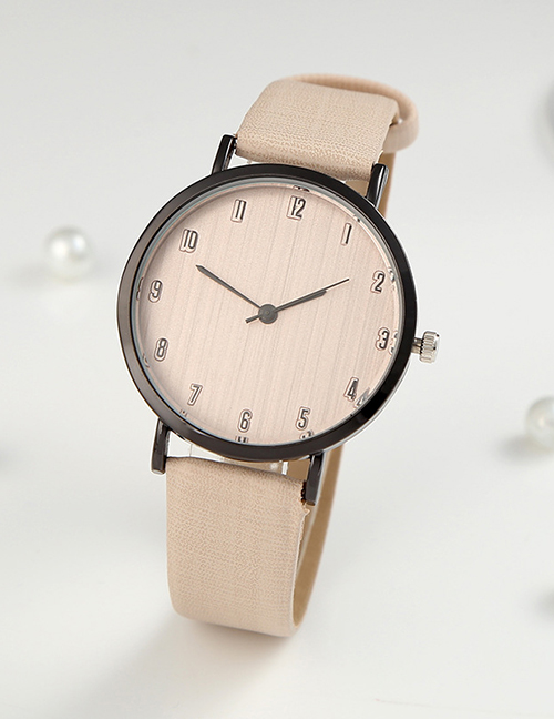 Fashion Khaki Digital Watch With Ultra-thin Dial With Pu Belt