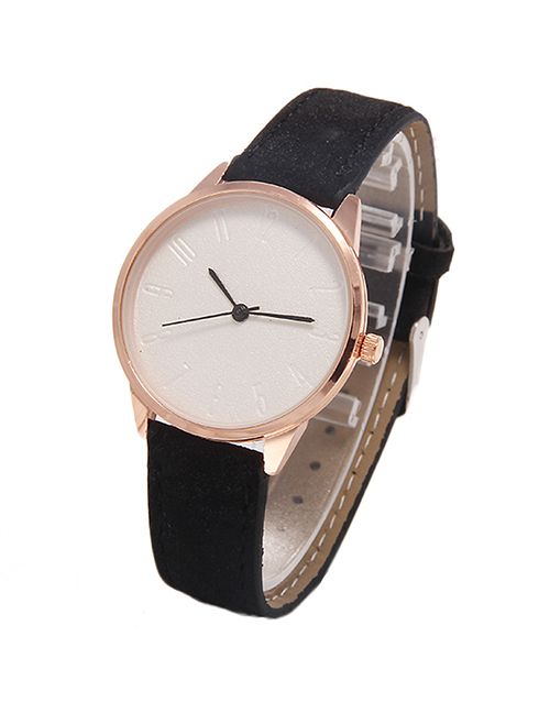 Fashion Black Scaled Arabic Digital Leather Strap Quartz Womens Watch