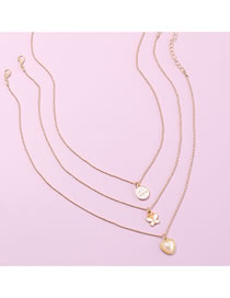 Fashion Golden Drop Oil Love Pearl Butterfly Multilayer Necklace