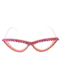 Fashion Pink Cat Eye Sunglasses With Rhinestones And Uv Protection Crystals