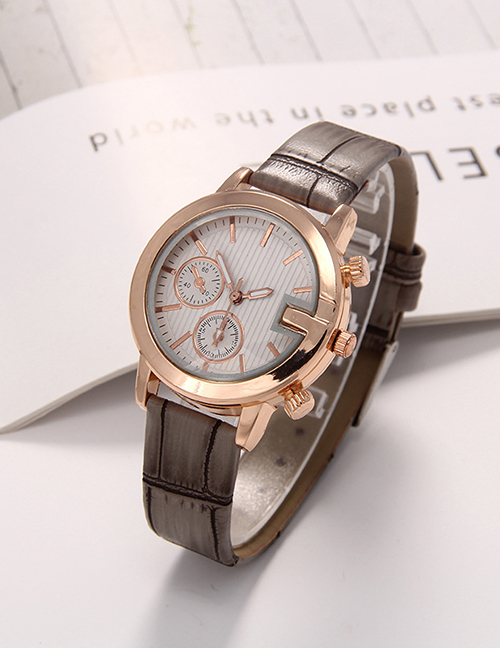 Fashion Khaki Fake Double Eye Strip D-scale Quartz Womens Leather Watch