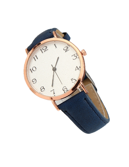 Fashion Navy Blue Ultra-thin Frosted Belt Quartz Watch