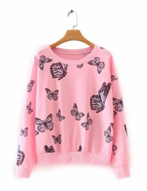 Fashion Pink Butterfly Print Long Sleeve Sweatshirt