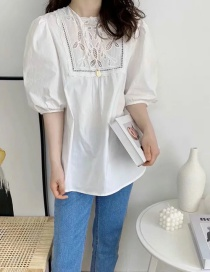 Fashion White Hollow Embroidery Puff Sleeve Top