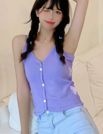 Fashion Purple Embroidered Butterfly Strap Breasted Top