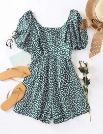Fashion Green Small Floral Bubble Sleeve Jumpsuit