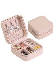 Fashion Bare Powder Pu Single Layer Portable Earring Ring Jewelry Box