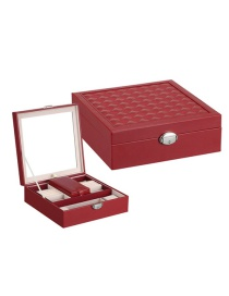 Fashion Maroon Multifunctional Jewelry Box With Mirror