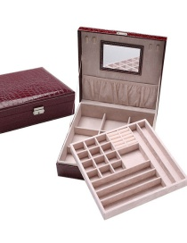 Fashion Maroon Mirror Velvet Jewelry Double Crocodile Pattern Jewelry Box