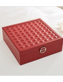 Fashion Purplish Red Wooden Cosmetics Jewelry Box With Mirror Jewelry