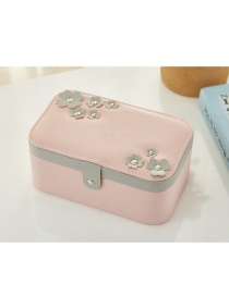 Fashion Pink Flower Hit Color Multilayer Portable Jewelry Box