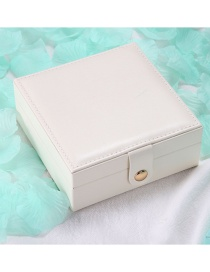 Fashion White Single Layer Pu Portable Jewelry Earring Ring Jewelry Box