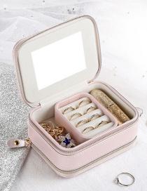 Fashion Nude Powder Portable Zipper Pu Multifunctional Jewelry Jewelry Box