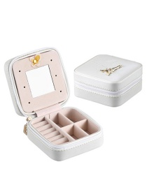 Fashion White (paris Tower) Portable Snake Leather Jewelry Box With Mirror