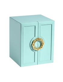 Fashion Tiffany Blue Multi-layer Large-capacity Double-open Leather Jewelry Storage Box