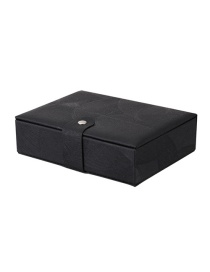Fashion Elegant Black Pu Leather Magnetic Buckle Single-layer Jewelry Storage Box