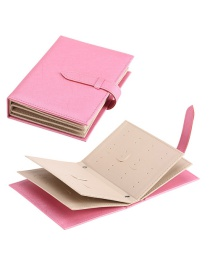 Fashion Pink Full Leather Earrings Storage Book
