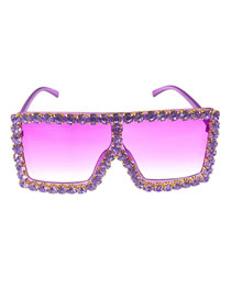 Fashion Purple Sunglasses And Diamond Square Uv Protection Sunglasses