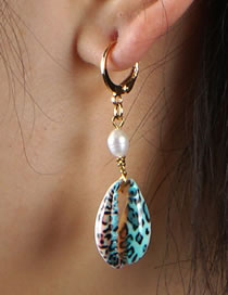 Fashion Leopard Print Natural Shell Pearl Alloy Earrings