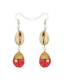 Fashion Red Natural Shell Copper Wire Winding Oil Drop Alloy Eye Earrings