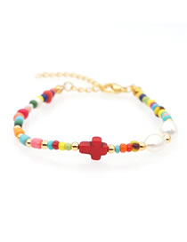 Fashion Red Natural Freshwater Pearl Rice Pearl Alloy Cross Bracelet