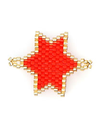 Fashion Red Rice Beads Weave Geometric Pattern Accessories