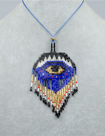 Fashion Blue Hand-woven Beaded Eye Tassel Necklace