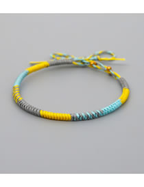 Fashion Yellow Handmade Wax Rope Woven Mixed Color Bracelet