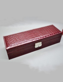 Fashion Purplish Red Snake-deer Suede Velvet Lining Leather Watch Box