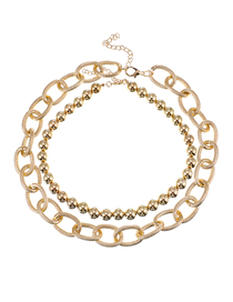 Fashion Golden Alloy Chain Resin Bead Necklace Set