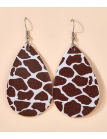 Fashion Dark Brown Drop-shaped Leaf Leopard Print Sequined Double-sided Leather Earrings