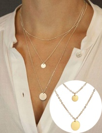 Fashion Golden Round Alloy Multi-layer Necklace