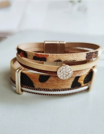 Fashion White Diamond Leopard Multilayer Bracelet With Diamond Pu Leather Leopard Pattern Magnet Buckle