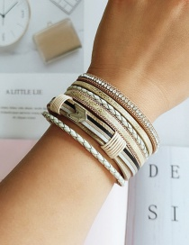 Fashion Yellow Alloy Pu Leather Handmade Multi-layer Bracelet