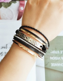 Fashion Black Pu Leather Hand-set Diamond Multi-layer Bracelet