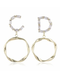 Fashion Yellow Asymmetrical Alloy Earrings With Ring Letters And Diamonds