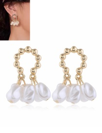 Fashion White Pearl Geometric Round Alloy Earrings