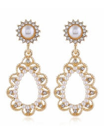 Fashion Yellow Alloy Diamond Pearl Earrings