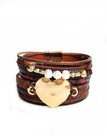 Fashion Red Pu Leather Love Alloy Pearl Multi-layer Bracelet