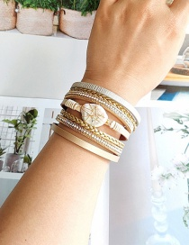 Fashion Yellow Pu Natural Shell Magnetic Buckle Diamond Multi-layer Bracelet