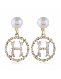 Fashion Yellow Diamond-shaped Pearl Alloy Geometric Round Earrings