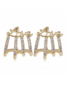 Fashion Yellow Alloy Diamond Hollow Earrings