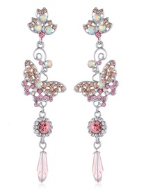 Fashion White Beautiful Butterfly Earrings With Alloy Diamonds And Flowers
