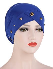 Fashion Sapphire Beaded Flower Sponge Splicing Cross Turban Hat